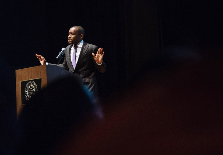 award-winning journalist and author, Marc Lamont Hill gave the keynote address Sept. 1 during Syracuse University's Inaugural symposium. | Photo provided by Michael Santiago for TheNewsHouse.com
