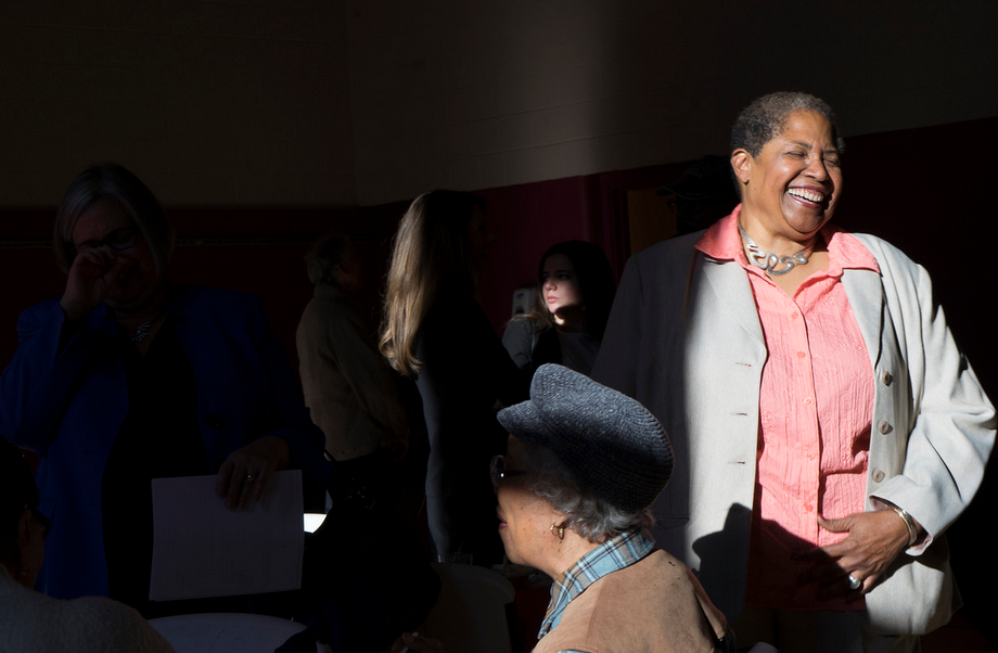 Liz Page, far right, interacts with senior residents at The Dunbar Center during the Election Day breakfast fundraiser held Nov. 8. | Marianne Barthelemy, Staff Photo